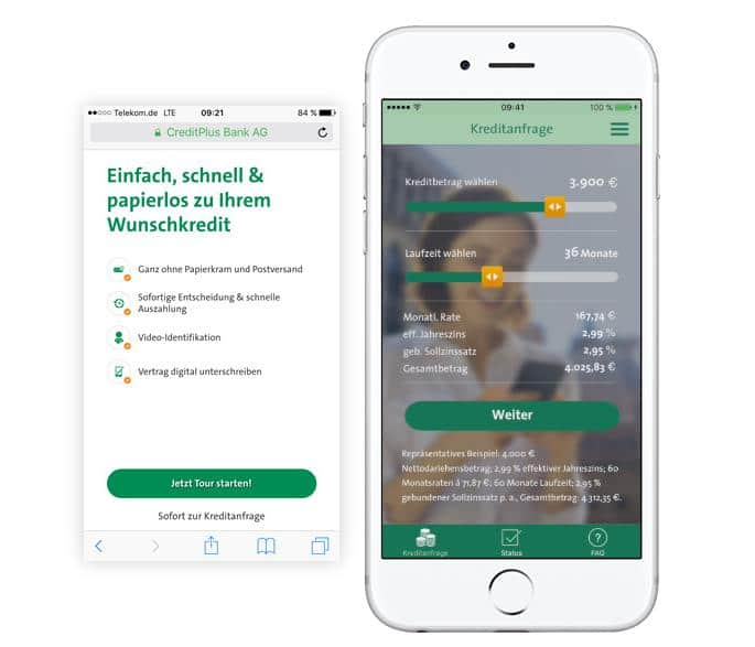 Screenshot CreditPlus4Now App zur Kreditanfrage via Smartphone